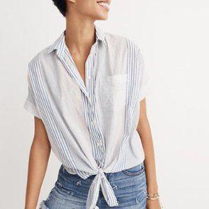 Madewell Short Sleeve Tie-Front Shirt Rawley Strip